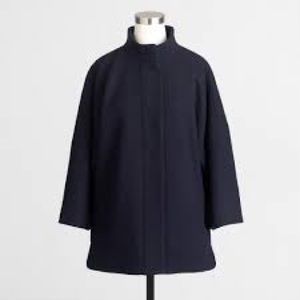 J. Crew Wool Black 3-quarter Sleeve Coat